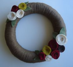 Fall Yarn Wreath by Glory1031 on Etsy, $21.00 Wreaths For Front Door, Door Wreaths, Fall Yarn Wreaths, Easy Diy, Felt, My Style, Unique Jewelry, Handmade Gifts, Inspiration
