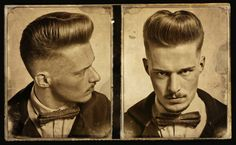Nice, bit dandyish kinda Jelly-Roll Pompadourish haircut on this fine young gentleman, goes great with the bow-tie and moustache...