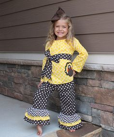 Another great find on #zulily! Yellow & Brown Turkey Tunic & Pants - Infant, Toddler & Girls #zulilyfinds