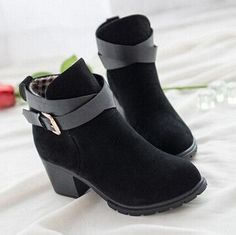 HEE GRAND Winter Fashion Women Boots Thick Heel Platform Shoes Buckle Autumn Winter Boots For Women Martin Ankle Boots XWX627