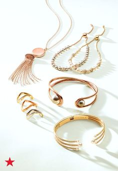 Refresh your jewelry box with pearl accented rings, bracelets, cuffs and tassel necklaces by Michael Kors. Uniquely shaped designs and mixed metals are perfect to wear on their own or stacked together for the ultimate arm party! Shop now at macys.com.