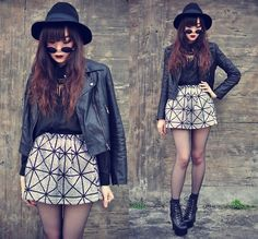 Motelrock Leather Jacket, Theeditorsmarket Skirt, Jeffrey Campbell Lita | Glittery (by Tess Lively) | LOOKBOOK.nu