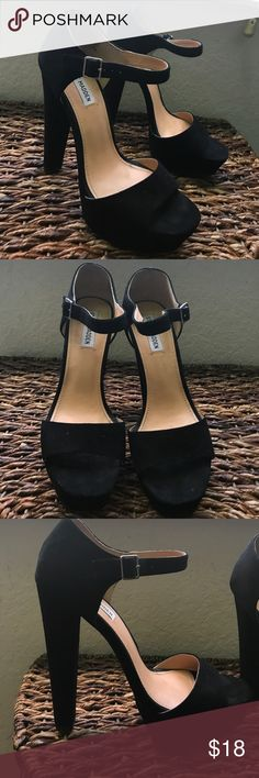 Steve Madden Heels Black felt Steve Madden Heels. They have been worn a few times as you can tell in the pictures. But they are still in good condition! Steve Madden Shoes Heels