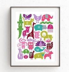 Baby cross stitch pattern Animal embroidery chart Baby shower