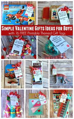 Need a simple Valentine gift idea for boys? Check out these 16 different themed Valentine gift ideas that are perfect for a small token of your affection for your sons or grandsons. Plus I am offering 16 FREE printable gift tags to Valentines Day Gifts For Toddler Boy, Kinder Valentines, Toddler Boy Gifts, Valentine Day Crafts, Happy Valentines Day, Valentine Gifts For Teachers, Valentine Stuff, Homemade Valentines, Valentine Ideas