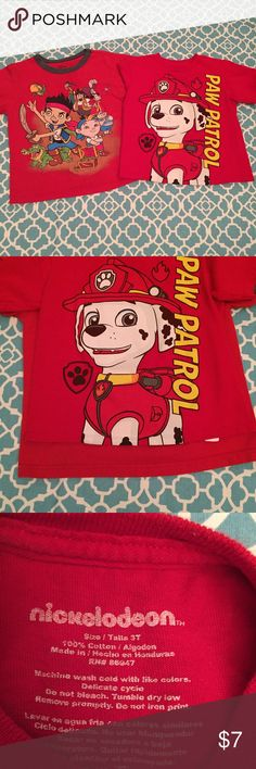 Boys Character Shirts GUC! No stains or damage, only slight cracking of graphic. Paw Patrol is Nickelodeon size 3T, Jake is Disney size 2-3.   Not willing to separate at this time.   Pet Free / Smoke free home Disney Shirts & Tops Tees - Short Sleeve
