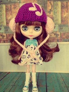 SALE!!! Crochet HeadPhones hat for Blythe Doll by CherriesGallore on Etsy, $15.00