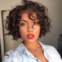 Short wavy bob wigs for black women wavy bob hairstyles human hair wigs lace front wigs short curly bob hairstyles Short Hair Cuts, Short Hair Styles, Curly Short, Short Pixie, Curly Bob Weave, Curly Natural Hair Styles, Curly Weave Styles, Loose Curls Short Hair, 1920s Hair Short