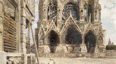 Joseph Félix Bouchor, La Cathédrale de Reims, 1917 Huile sur toile, 26,8 x35 cm Musée national de la coopération franco-américaine, Blérancourt, France