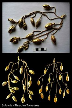 Unique golden jewel of Kapinovo ( V-ІV c. BC ) Gold chain with a complex weave, on it has attached 10 acorns, two almonds, an amphora in the form of a ram head with rosette. Chain ends with a clasp.