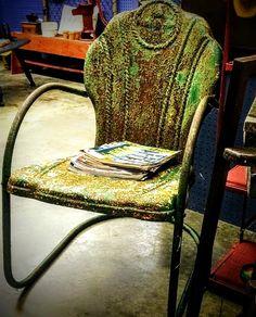 Mid-century Interstate vintage metal chair. See history at www.midcenturymetalchairs.com