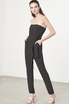 Tie Front Strapless Jumpsuit in Black
