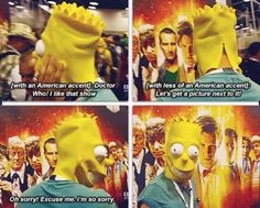 MATT SMITH DISGUISED AS BART SIMPSON AT COMIC CON