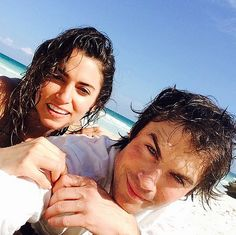 Nikki Reed and Ian Somerhalder celebrated Valentine's Day 2015 on the beach.