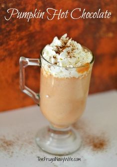 An easy combination of pumpkin and a classic hot chocolate will have you antsy for fall flavors. Make this Pumpkin Hot Chocolate today. Pumpkin Recipes, Fall Recipes, Holiday Recipes, Holiday Drinks, Fall Drinks, Fruit Recipes, Holiday Fun, Slushies, Sweets