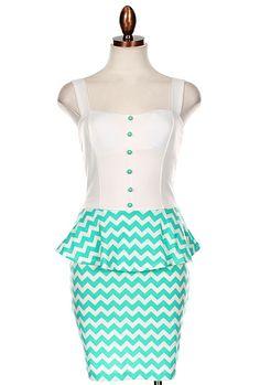 Sweet & Sassy Chevron Print Bow Back Peplum Dress in Mint