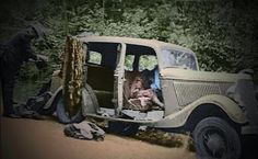 Bonnie and Clyde death car. Taken right after the shooting (yes they're in the car). Bonnie had 53 bullets in her and Clyde had 51.