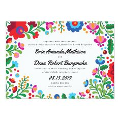 Shop Mexican Embroidery Colorful Wedding Invitation created by Personalize it with photos & text or purchase as is! Mexican Wedding Invitations, Wedding Invitation Size, Destination Wedding Invitations, Rehearsal Dinner Invitations, Personalized Invitations, Custom Invitations, Invitation Design, Invitation Ideas, Invites