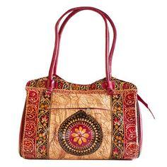 ef99a6d858 Handicraftsvillauk Ethnic Circle Batik Design Shantiniketan Leather Bag.