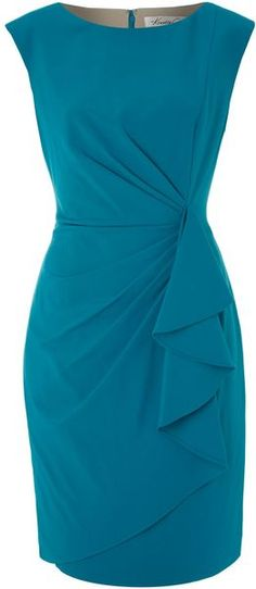 Kenneth Cole Blue Side Frill Detail Dress