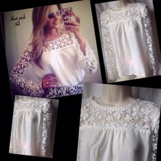 """Loose Chiffon Top Beautiful top with chiffon and lace throughout the top and sleeves. Color white. Arm pit to Arm pit 18"""" Sleeve 24"""" Length 24"""" New! PRICE FIRM UNLESS BUNDLED Boutique Tops Blouses"""