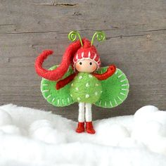 Christmas Elf Bendy doll in Red Green and White by dreamalittle7