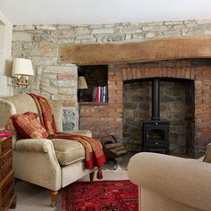 Love the brick work and wood burner - can imagine a snowy cold day, candles lit, sitting with hot chocolate by the fire - WONDERFUL!