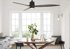 Shopping for Ceiling Fans There are a lot of ugly fans. But if you choose carefully its like adding a piece of sculpture to a room. Real Estate and Housing (Residential) Interior Design and Furnishings Furniture Fans (Airflow) Design Ceiling Fan In Kitchen, Dc Ceiling Fan, Living Room Ceiling Fan, Home Decor Ideas, Decorative Ceiling Fans, Farmhouse Lighting, Kitchen Lighting, Thing 1, Residential Interior Design