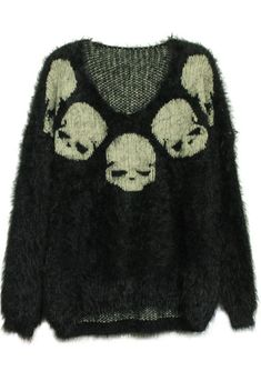 Black Long Sleeve Skull Embroidery Mohair Sweater
