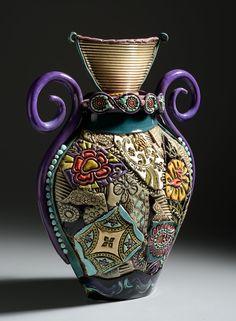 Image of Egyptian Curly Handled Vase (Large) Gail Markiewicz Ceramic Pots, Ceramic Clay, Porcelain Ceramics, Ceramic Pottery, Fine Porcelain, Painted Porcelain, Slab Pottery, Thrown Pottery, Hand Painted