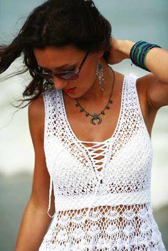 crochet padrões livres e tutoriais em vídeo: Como fazer crochê vestido de verão padrão livre
