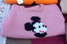 Pink Mickey Mouse sweater - hand knit - Goddard park farmers market
