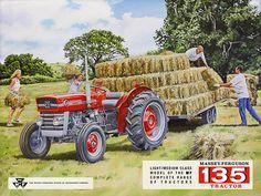 Massey Ferguson MF135 Tractor Retro Metal Sign