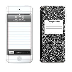 Composition Notebook Design Protective Decal Skin Sticker for Apple iPod Touch Gen) Player Ipod 5 Cases, Ipod Touch Cases, Cool Iphone Cases, Ipod Touch 6th, Cool Cases, Cute Phone Cases, Tablet Cases, Cell Phone Contract