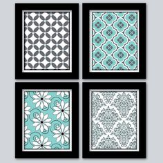 Get cheap frames and cute scrap book paper - could make these as patterned decor for baby's area....