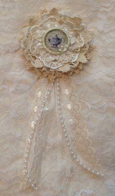 Handmade flower inspired by Lele with altered bottle cap center