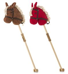 Little cowpokes can hit the trail in style astride this classic Giddy Up Hobby Horse. This mighty steed features wooden mini-wheels for galloping across the canyon floors without scratching them.