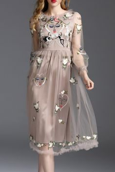 Shop avilla coffee embroidered tulle patched midi dress here, find your midi dresses at dezzal, huge selection and best quality. Midi Dress Outfit, Dress Outfits, Fashion Dresses, Midi Dresses, Pretty Dresses, Beautiful Dresses, Lesage, Sheer Dress, Looks Style