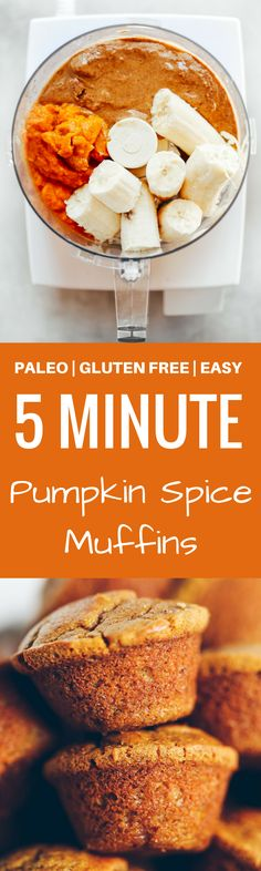 Flourless pumpkin banana muffins make for easy meal prep- perfect for cozy fall breakfasts or post workout fuel! Naturally sweetened, with added health benefits and protein from collagen peptides. Pumpkin Protein Muffins, Pumpkin Muffin Recipes, Protein Cake, Protein Cookies, Little Muffins, Fall Breakfast, Breakfast Muffins, Paleo Baking, Gluten Free Pumpkin