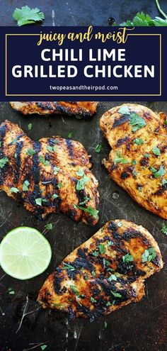 Everyone will love this special dinner idea on Father's Day! Surprise dad with this juicy and moist Chili Lime Grilled Chicken. Easy to make and full of flavor from a nice kick of chili, spices, and lime, this Father's Day recipe is also perfect for your summer BBQs! Easy Chicken Dinner Recipes, Grilled Chicken Recipes, Best Chicken Recipes, Great Recipes, Easy Meals, Simple Recipes, Delicious Recipes, Grilling Recipes, Cooking Recipes