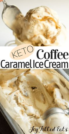 Sweet Cream Coffee Caramel Ice Cream - Low Carb Keto THM S - THM Spring Faves - Sweet cream and dark coffee ice creams swirled together with a coffee scented caramel sauce. Low Carb Sweets, Low Carb Desserts, Low Carb Recipes, Ketogenic Recipes, Quick Recipes, Yummy Recipes, Dinner Recipes, Dessert Recipes, Healthy Recipes