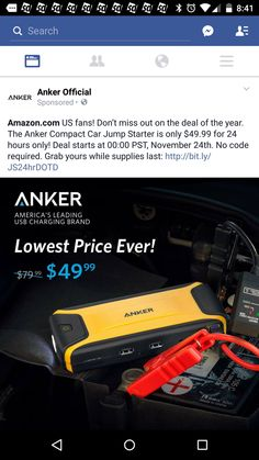#Amazon: [Ultra Compact] Anker Compact Car Jump Starter and Portable Charger Power Bank with 400A Peak Current ... http://www.lavahotdeals.com/us/cheap/ultra-compact-anker-compact-car-jump-starter-portable/43312