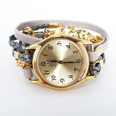 Leather Chain Wrap Watch Gray now featured on Fab.
