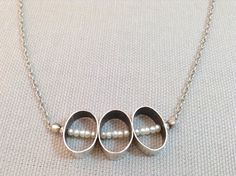 Handmade Triple sterling Ovals with White Freshwater Rice Pearl Necklace  by J&I Jewelry