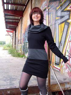 Minikleider - Wintertraum Kleid schwarz/grau - ein Designerstück von sorted-clothing bei DaWanda
