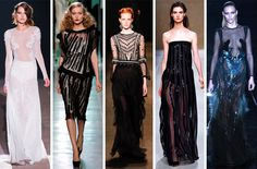 Detail: Dare to Sheer-- We loved the notion of sheer on top; mesh sleeves and necklines seem so alluring. We are still wrapping our heads around the notion of wearing sheer on bottom…OUR bottoms…'nuff said…L-R: Francesco Scognamiglio, Bottega Veneta, Alberta Ferretti, Blumarine, Gucci