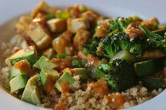 Quinoa veggie bowl with peanut sauce