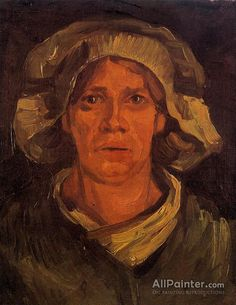 Vincent Van Gogh Head Of A Peasant Woman With White Cap oil painting reproductions for sale