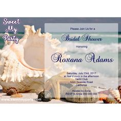 Seaside Bridal Shower invitation, Sea Shell Bridal Shower Invitation,Beach Wedding Shower Invitation,(12)
