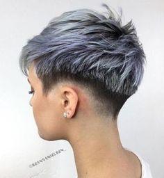 Short Silver Hair, Short White Hair, Short Punk Hair, Funky Short Hair, Short Hair Undercut, Really Short Hair, Short Hair Cuts, Short Hair Styles, Super Short Pixie Cuts
